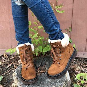 Vegan Suede faux fur lined combat lace up boots